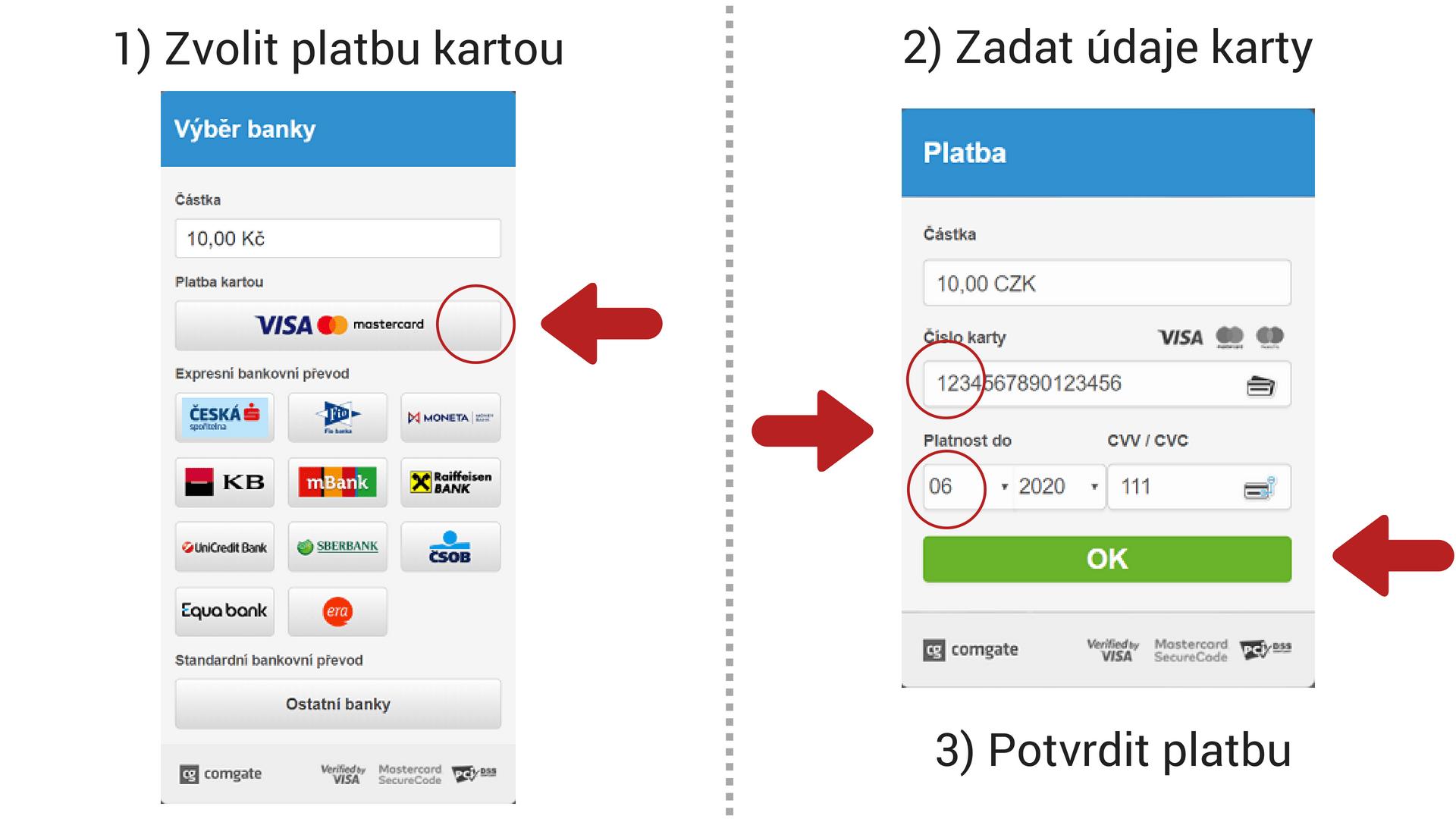 Postup pro platby kartou
